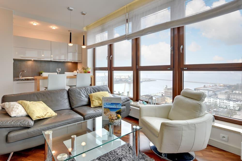 Apartament typu Deluxe, 2 sypialnie, widok na morze (living room 4 adults) - Salon