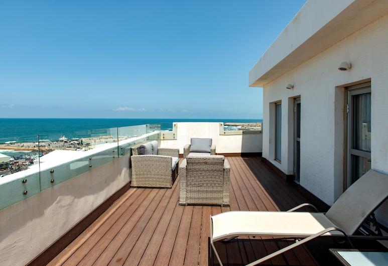 Port and Blue TLV Boutique Suites Hotel, Tel Aviv, Apartament typu Premium Suite, 2 sypialnie, taras (Park), Z widokiem na plażę/ocean
