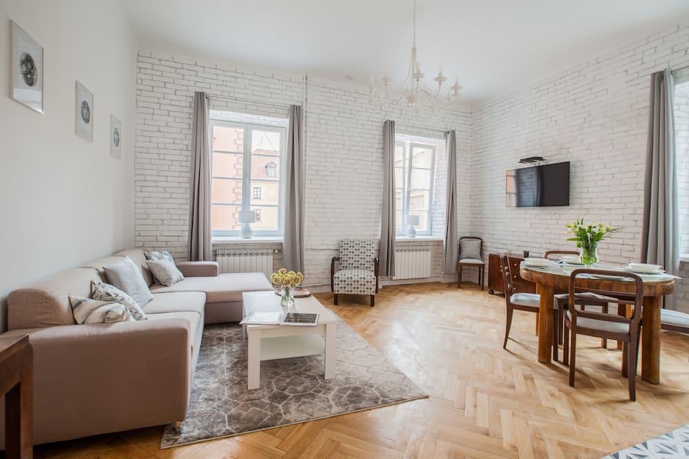 Prabangaus stiliaus apartamentai, 2 miegamieji, konsjeržo paslaugos, vaizdas į miestą (Piwna 27) - Svetainė