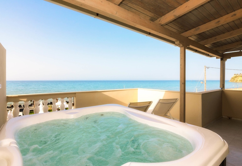 Iakinthos Tsilivi Beach, Zante, Camera Deluxe, 1 letto queen, vista mare, fronte mare, Camera