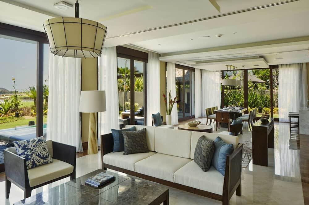 Luxury-huvila, 3 makuuhuonetta, Yksityinen uima-allas, Näköala golfkentälle - Olohuone