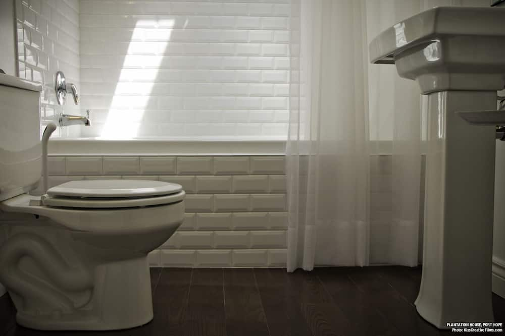 Номер, 1 двуспальная кровать «Кинг-сайз», смежные ванная комната и спальня, вид на сад - Ванная комната