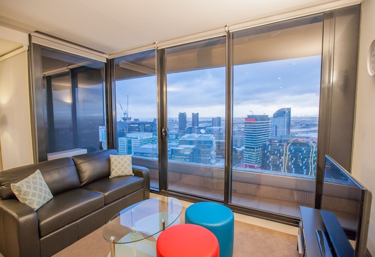 Melbourne SkyHigh Apartments, Melbourne, Apartamento luxo, 1 quarto, Vista do quarto