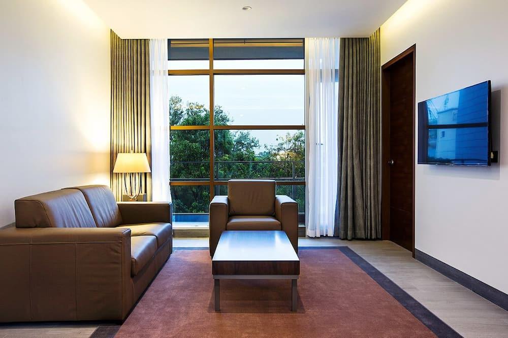 Deluxe suite, 1 spavaća soba, pogled na grad, kut zgrade - Dnevna soba