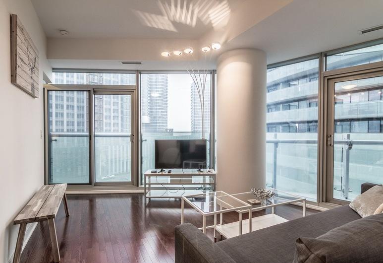 AOC Suites - Two Bedroom Condo - City/CN Tower View, Toronto, Luxe appartement, 2 slaapkamers, Uitzicht op de stad, in toren, Woonruimte