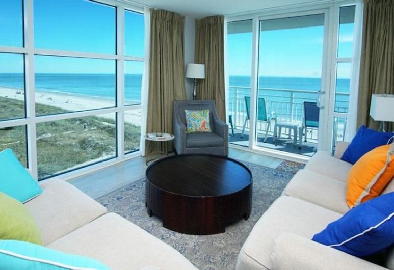 Units at Seaside Resort by Elliott Beach Rentals, North Myrtle Beach, Condo 3 Bedrooms Oceanfront (2 King beds, 2 Queen beds, 1 sofa bed), Living Area