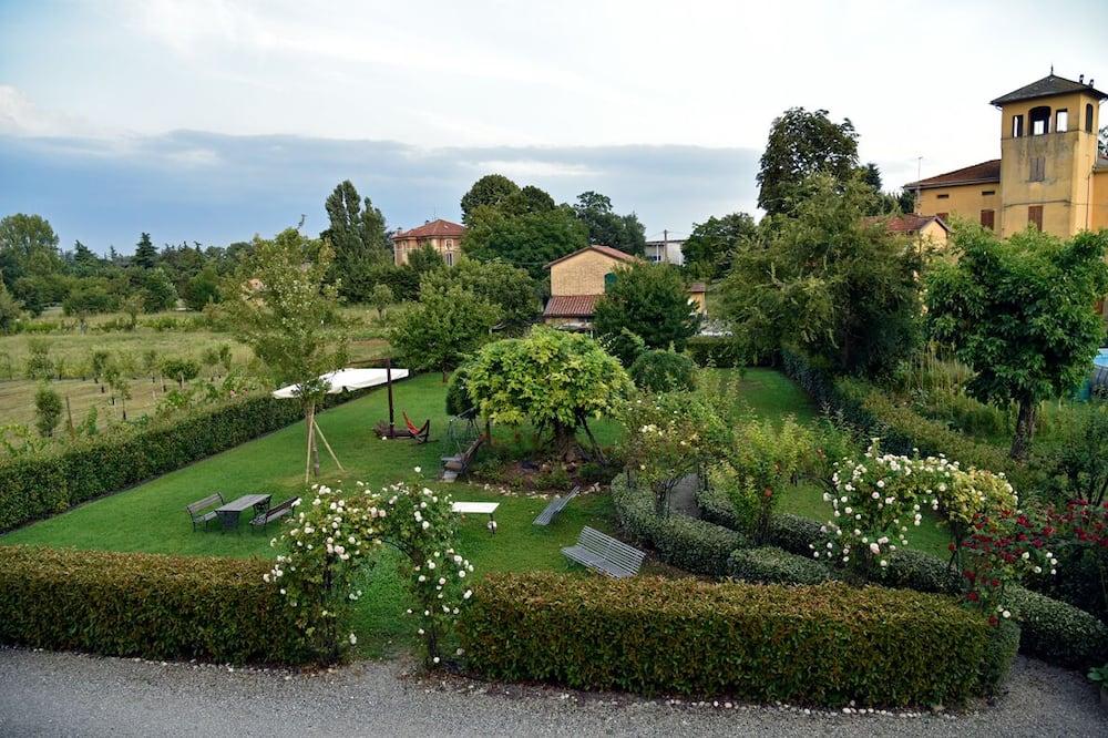 Kamer, 1 twee- of 2 eenpersoonsbedden, kitchenette, uitzicht op tuin - Uitzicht op tuin