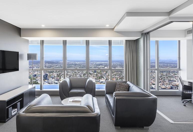 布里斯本赫歇尔街莫里顿公寓, 布里斯班, 套房, 2 间卧室 (Altitude ), 起居区