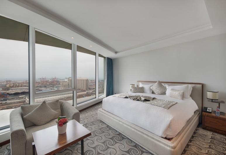 Grand Mogador CITY CENTER - Casablanca, קזבלנקה, סוויטה בייסיק, נוף לעיר, חדר אורחים