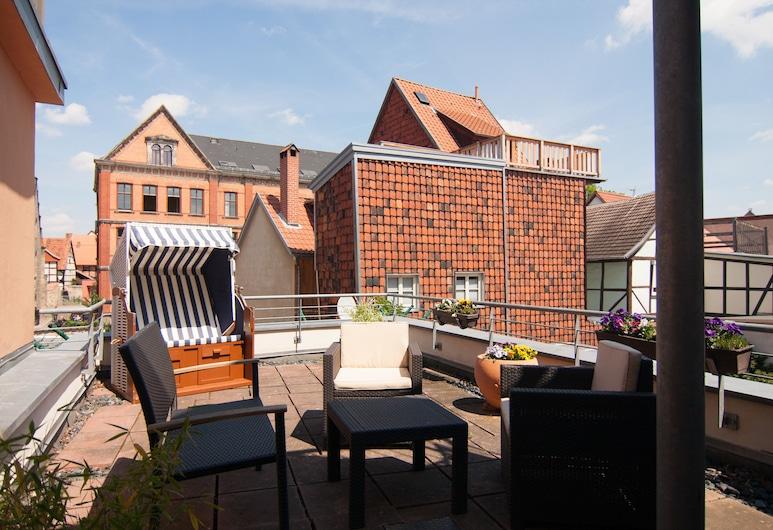 Urlaub im Fachwerk, Quedlinburg , Comfort Apartment, 1 Bedroom, Terrace, Teres/Laman Dalam