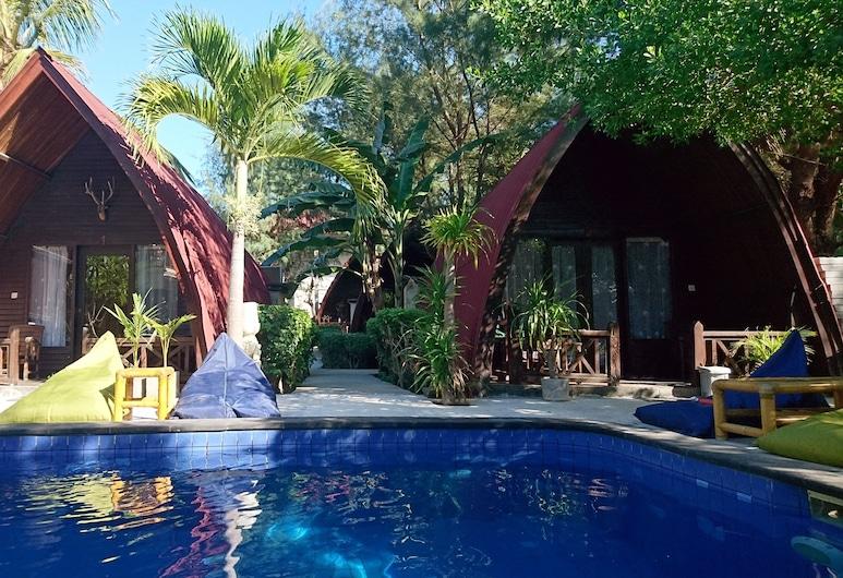 Coral Beach 2 Bungalow, Gili Trawangan, Bungalow Deluxe, 1 lit double, vue piscine, en bord de piscine, Terrasse/Patio