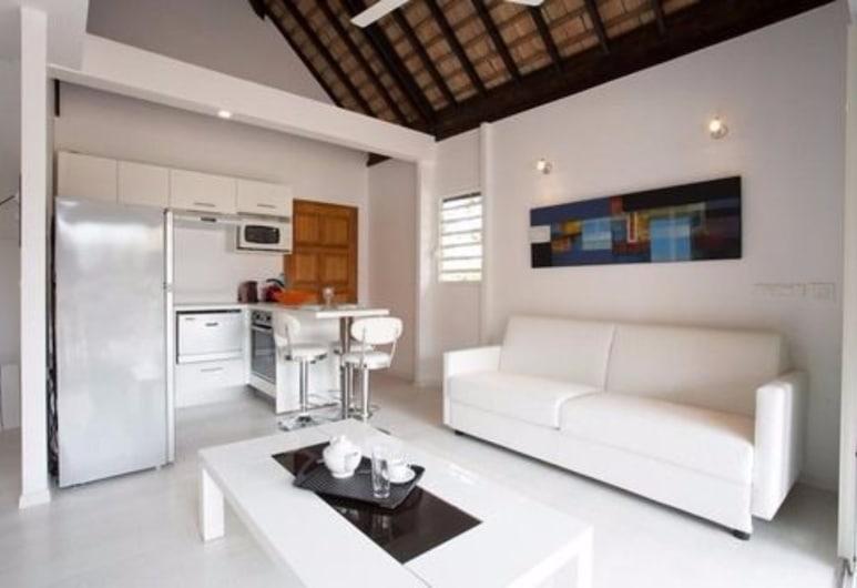Residence Moorea Sunset Beach, Moorea-Maiao, Bungalow, 1 soverom, utsikt mot lagune (Beach Bungalow), Oppholdsområde