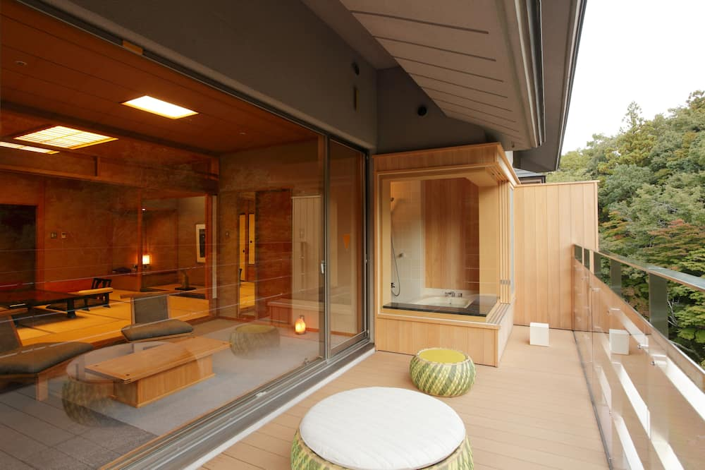 Japanese Style Room with Terrace, Fine View Bath, Upper-floor, Mountain View - Living Area