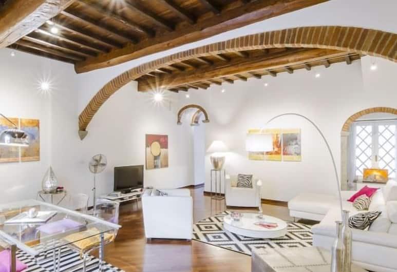 Florentapartments - Santa Maria Novella, Florence, Appartement Luxe, 2 chambres, cuisine (Location: Via Della Scala 36), Coin séjour