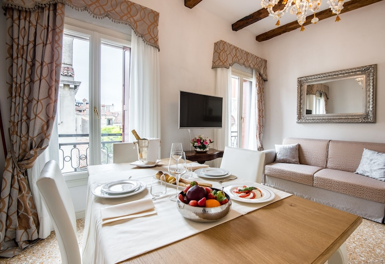 San Teodoro Palace Luxury Apartments, Venice, Superior Duplex, Terrace, Living Room