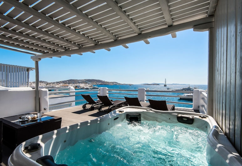 Riva Suites, Mykonos, Suite, 2 Quartos, Vista Mar (Outdoor Hot Tub), Quarto