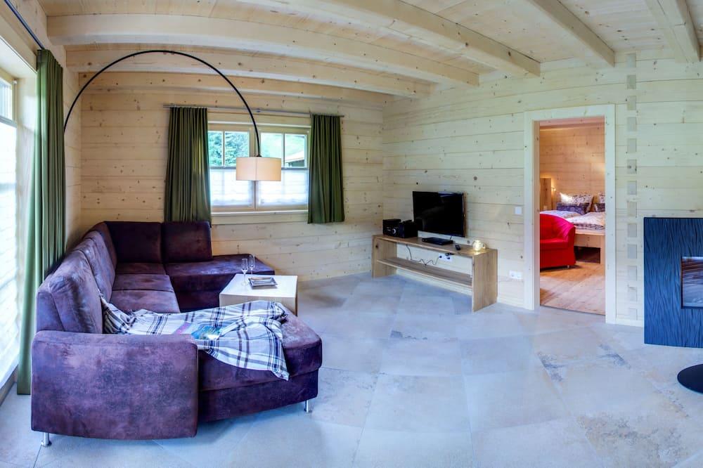 Deluxe faház, 2 hálószobával, nemdohányzó, hidromasszázskád - Nappali rész