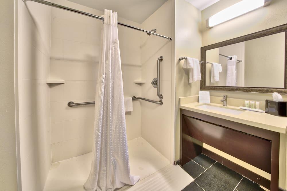 開放式套房, 1 張特大雙人床, 無障礙, 非吸煙房 (Hearing, Roll-In Shower) - 浴室
