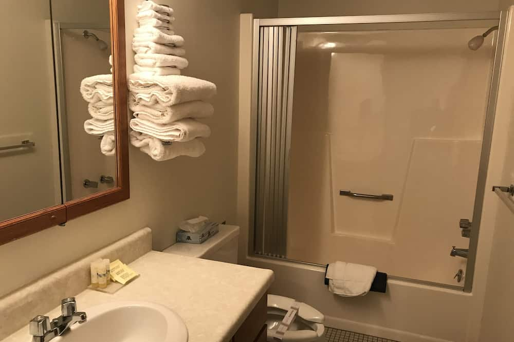 Phòng đôi trung tâm thành phố, 2 giường cỡ queen, Tủ lạnh & Lò vi sóng - Phòng tắm