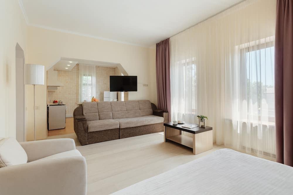 豪華開放式客房, 1 張特大雙人床及 1 張梳化床, 廚房 - 客廳