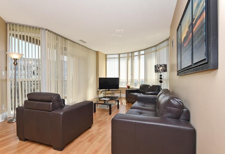 NAPA Furnished Suites - Square One, Mississauga, Departamento Premium, 2 habitaciones, vista a la ciudad, torre, Sala de estar