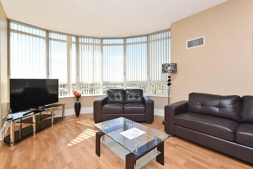 Premium-huoneisto, 2 makuuhuonetta, Kaupunkinäköala, Torni - Olohuone