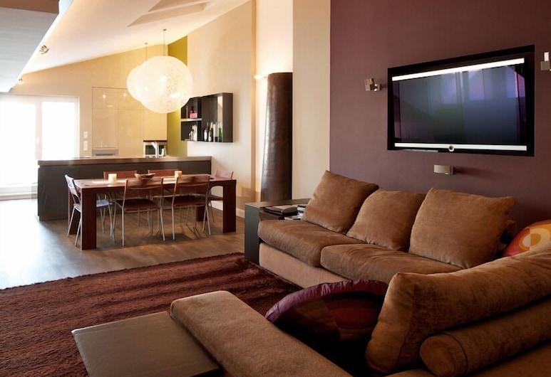 myhomeinvienna Deluxe Apartment, Vídeň, Designové ateliérové apartmá, 1 ložnice, terasa (Cleaning fee 40 EUR), Obývací prostor