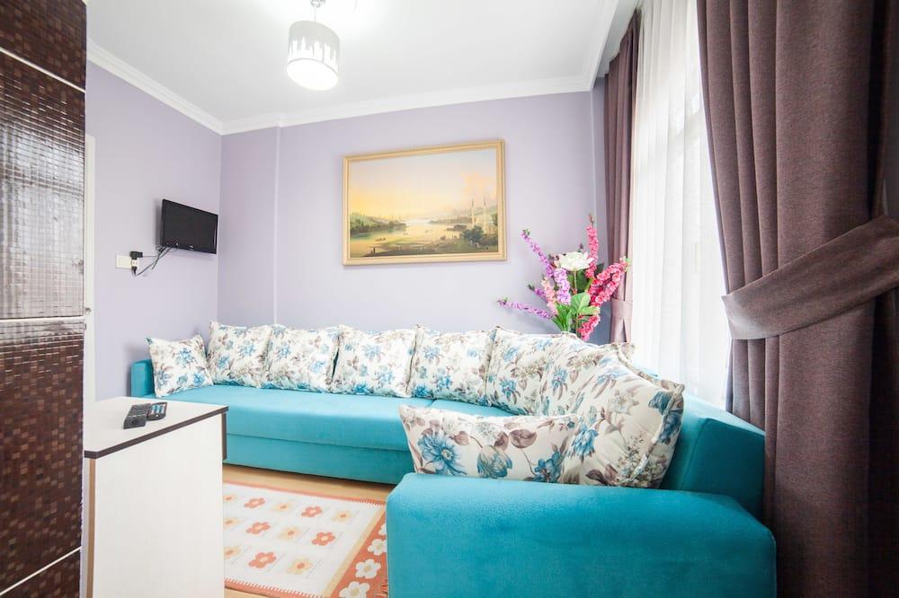 Familielejlighed - 1 soveværelse - balkon (Basement Floor) - Opholdsområde