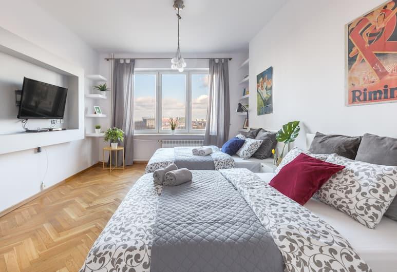 Palm Aparts Warsaw, Varšava, Apartmán s panoramatickým výhľadom, 3 spálne, výhľad na mesto, Izba