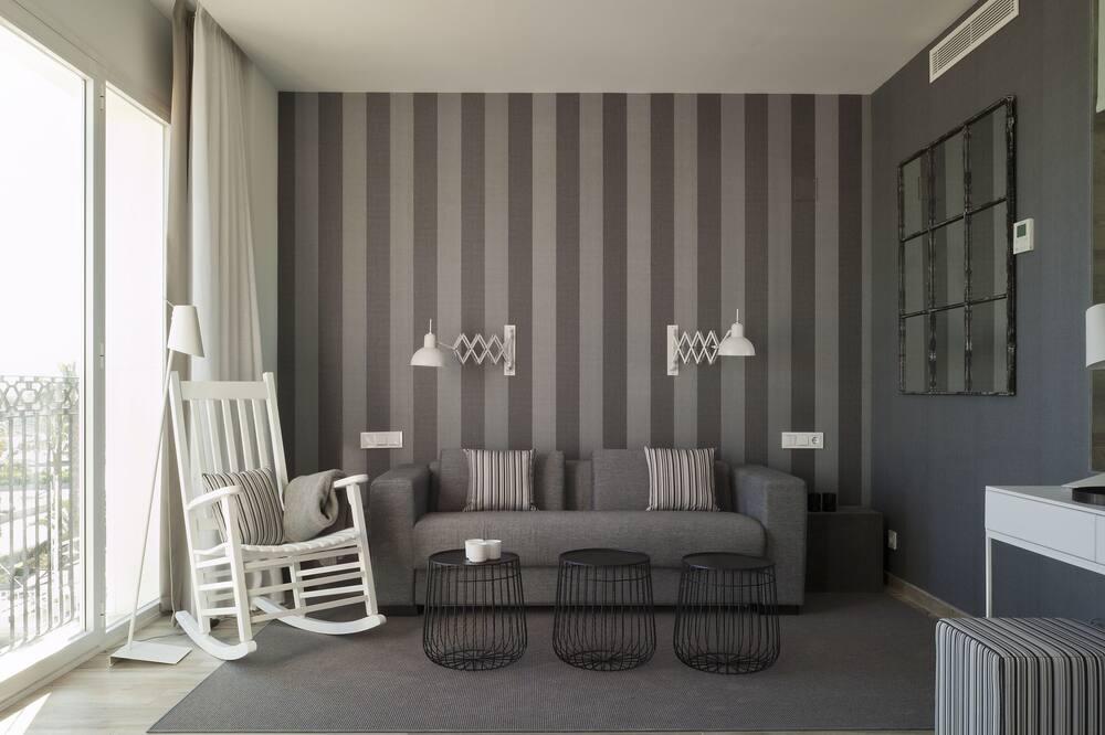 Junior-Suite, Whirlpool, Meerblick - Wohnzimmer