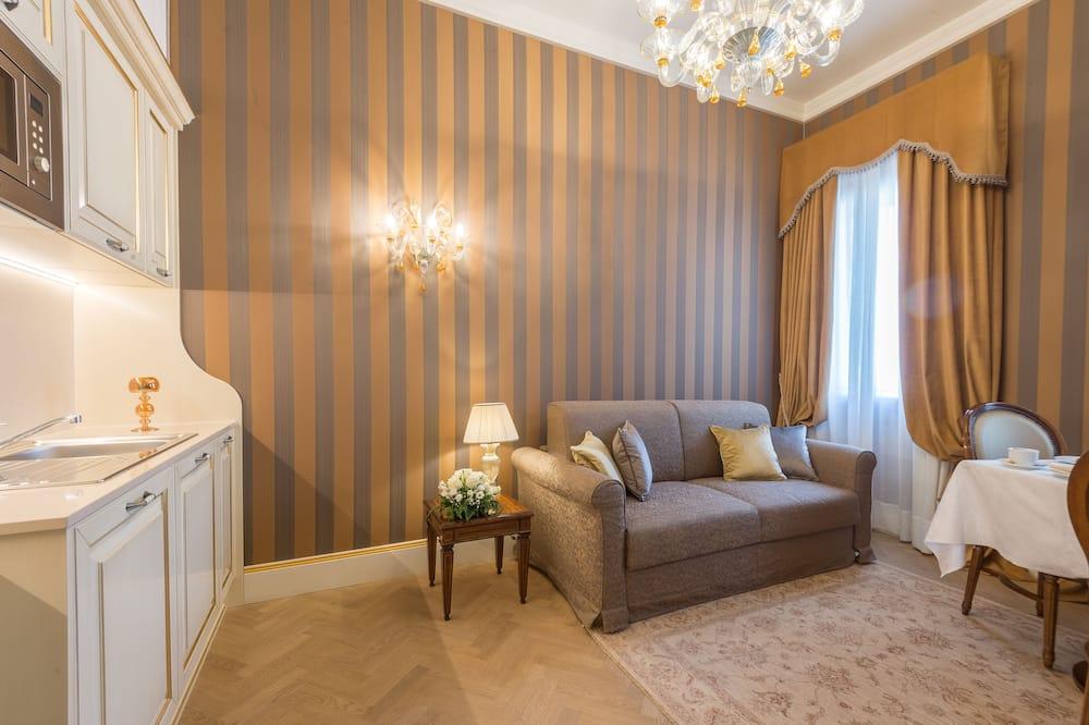 Appartement Confort, 1 chambre, coin cuisine, vue ville - Coin séjour