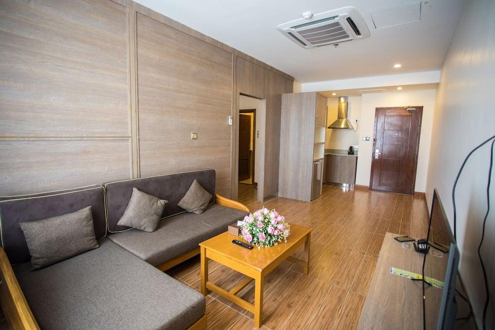 Business kamer, 1 twee- of 2 eenpersoonsbedden, 1 slaapkamer, roken, keuken - Woonkamer