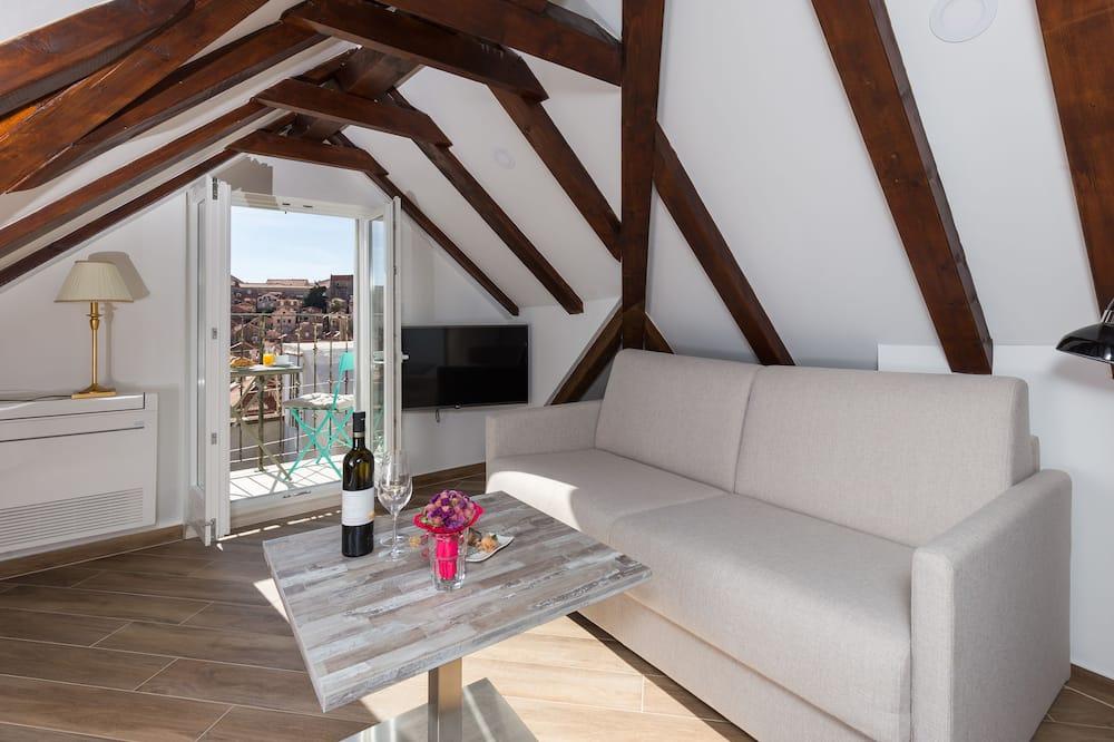 Studio apartment, Balcony, Sea view (Top floor) - Obývačka