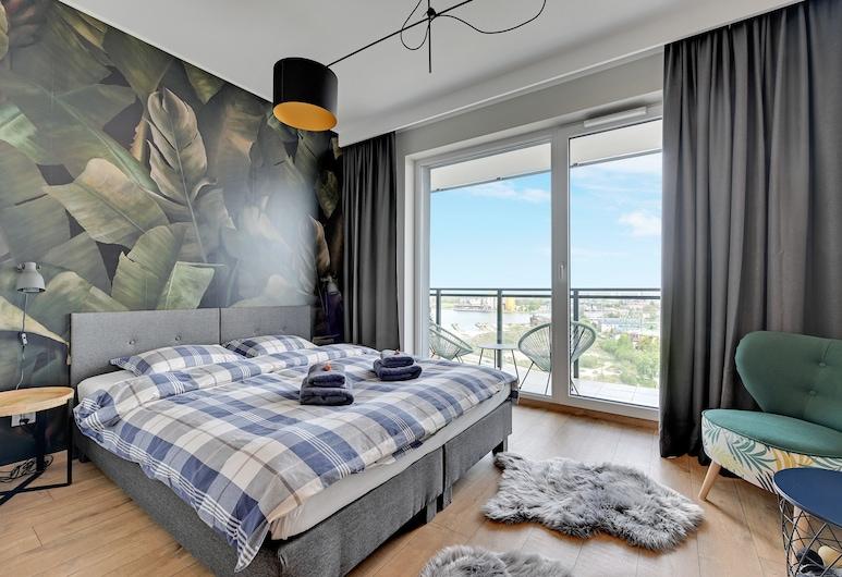 Blue Mandarin Apartments, Gdansk, Stúdíósvíta í borg - 1 tvíbreitt rúm - borgarsýn (ul. Wałowa 25), Herbergi
