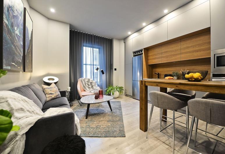 Les Appartements Stanley Court, Montréal, Appartement, 2 chambres (906), Coin séjour