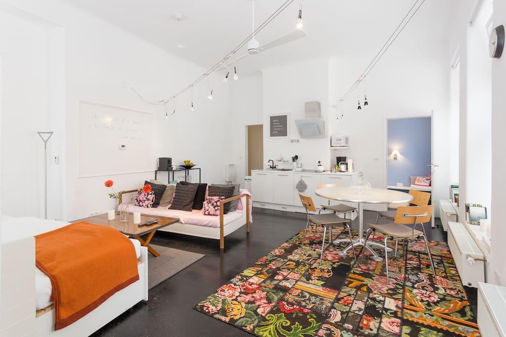 Premium-lejlighed - 1 soveværelse - køkken - stueetage (Premium Apartment, 1 Bedroom, Kitchen) - Opholdsområde