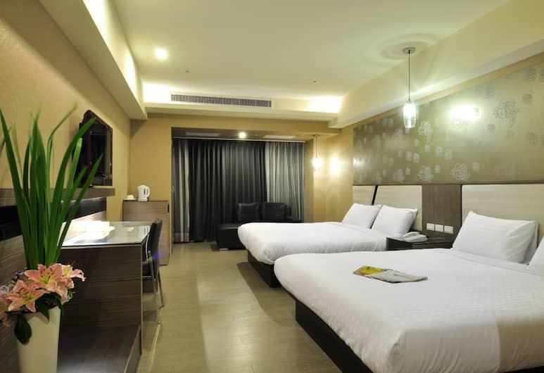 Goodness Plaza Hotel, Naujasis Taipėjus, Liukso klasės keturvietis kambarys, Vaizdas iš svečių kambario