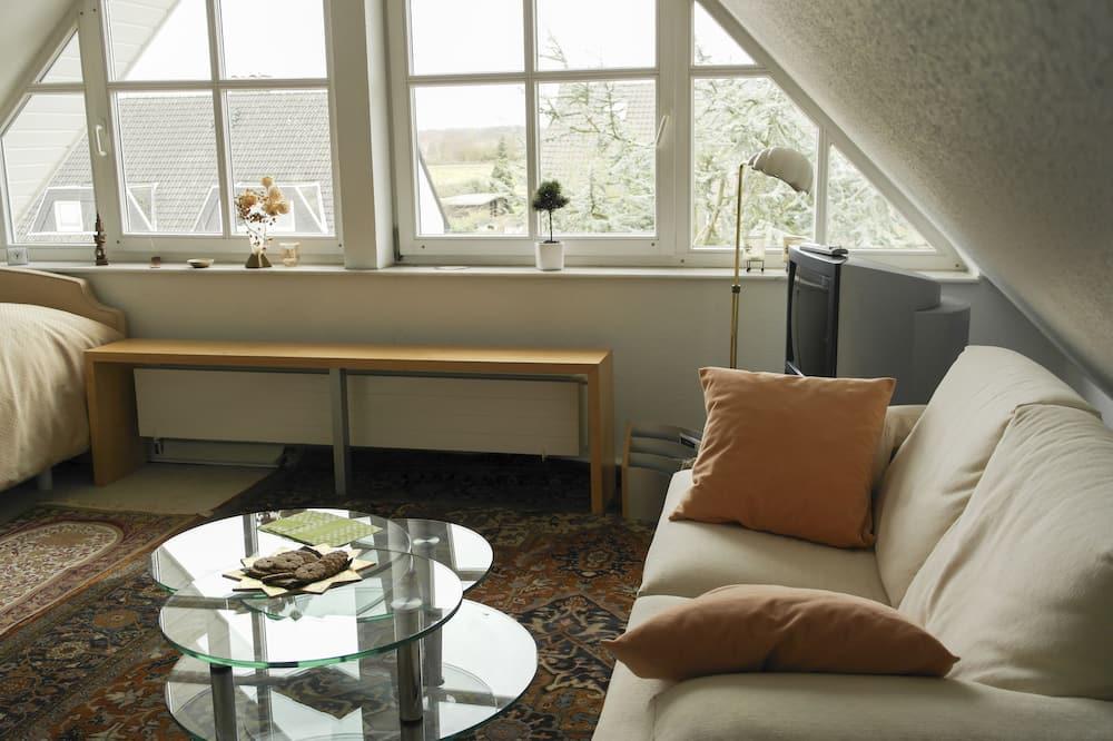 Apartamentai su pagrindiniais patogumais, 1 miegamasis (Attic, incl.59 EUR cleaning fee) - Svetainės zona