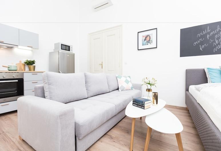 CHILL Apartments, Praha, Klasikinio tipo apartamentai, 2 miegamieji, virtuvė, Svetainės zona