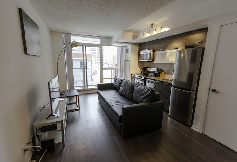 Life Suites Queen Street 2 Bed Apartment, Toronto, Apartment, 2 Bedrooms, Accessible, Kitchen, Living Area