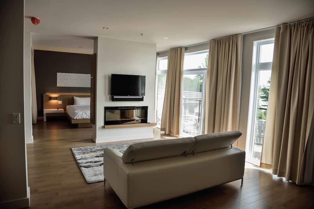 Apartmá typu Executive, dvojlůžko (200 cm), balkon, výhled na jezero - Obývací pokoj