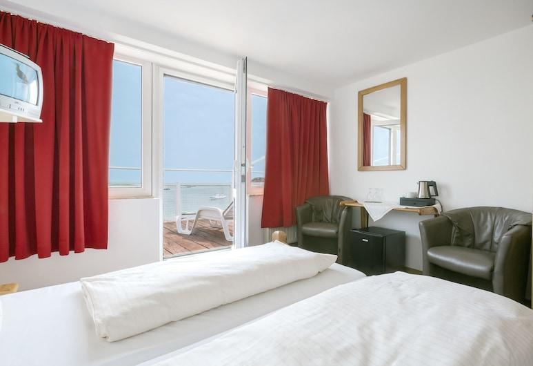 Hotel Felsen-Eck, Helgoland, Chambre Double, balcon, vue mer, Coin séjour