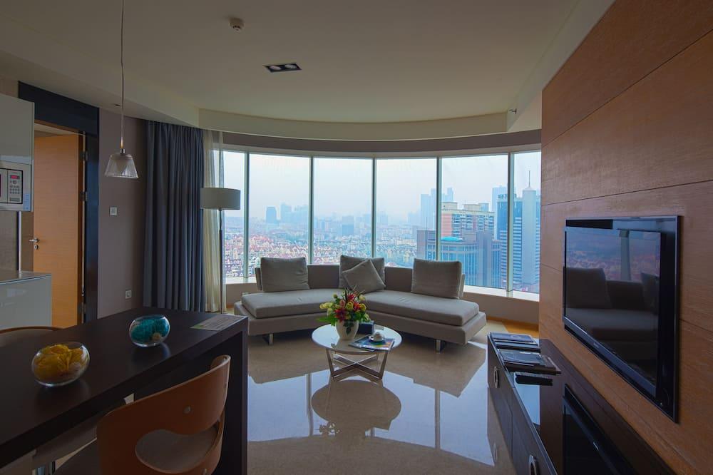 Улучшенный люкс, вид на море (Mountain View) - Зона гостиной