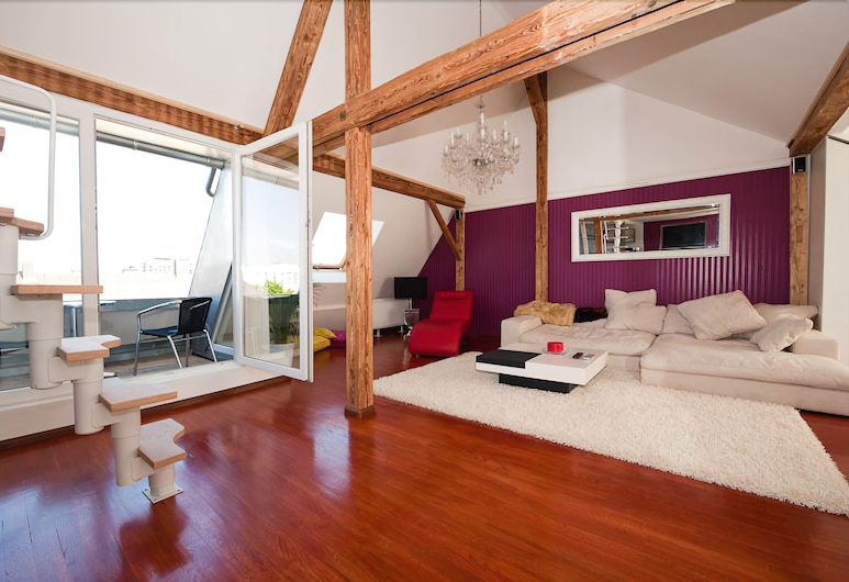 盧瑟斯城市公寓飯店, 布賴施高地區弗萊堡, 豪華樓中樓客房, 1 間臥室, 城市景觀, 客房