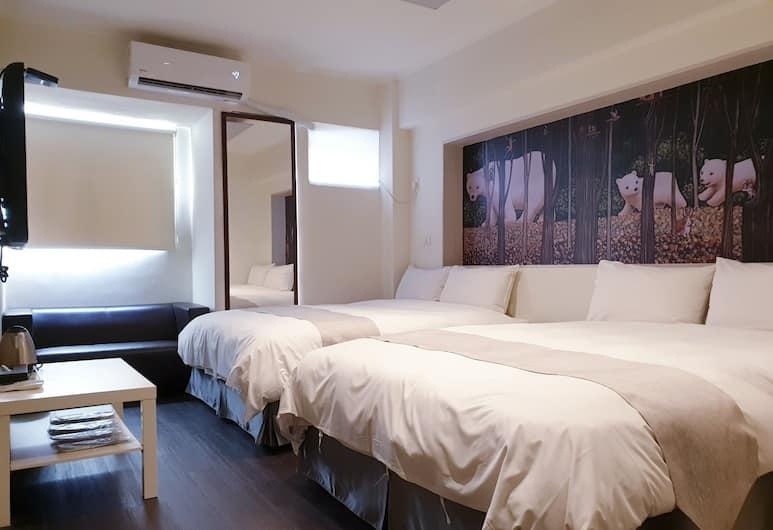 台中逢甲達斯旅店, 台中市, 經濟四人房, 2 張標準雙人床, 客房