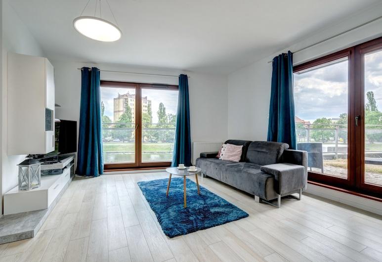 Dom & House - Apartments Nowa Motława, Gdansk, ดีลักซ์อพาร์ทเมนท์, วิวแม่น้ำ (with garden, 4 adults), ห้องนั่งเล่น