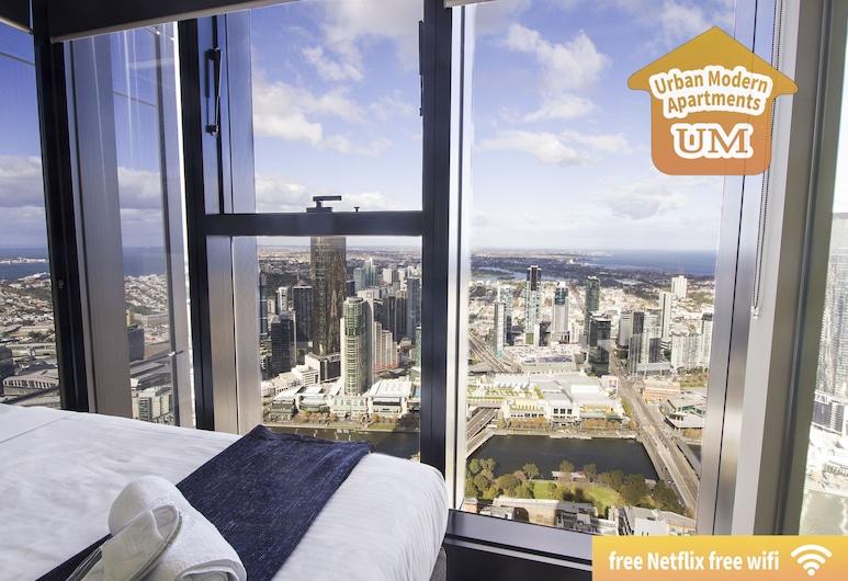 Urban Modern Apartments, Melbourne, Apartamento luxo, 2 quartos, 2 banheiros, Vista para a cidade, Quarto