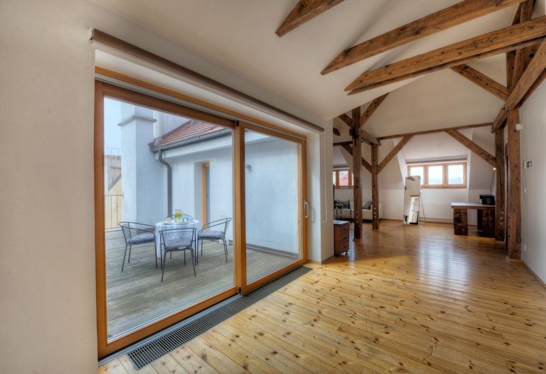 St.Havel Residence, Praga, Loft exclusivo, Terraço, Vista para a cidade, Quarto