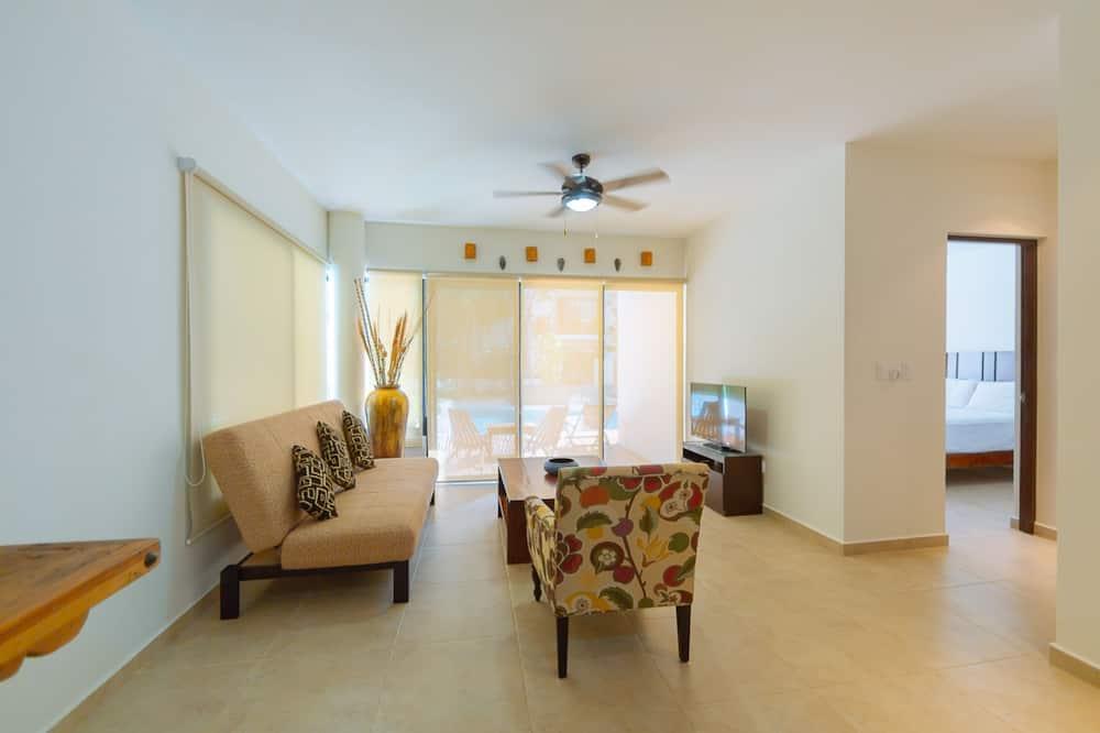 Comfort-lejlighed - 2 soveværelser - adgang til pool - ved pool - Opholdsområde