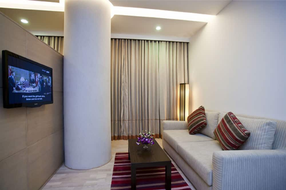 Apartmá typu Premium, dvojlůžko (200 cm), bezbariérový přístup, výhled na město - Obývací prostor